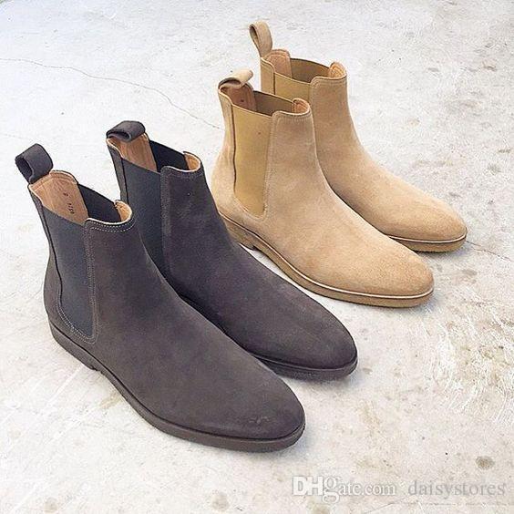Cuero real de gamuza hombres botines de tobillo Slip-on Hip hop Zapatos de baile Zapatos planos casuales Estilo de calle fresco Botas de motocicleta Zapatos