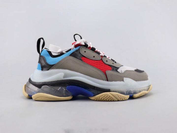 2020 para mujer para hombre de Triple-S Designer Shoes Plataforma zapatillas de deporte de pista casual zapatos papá para una calidad de hombres / las mujeres abajo s informal de triple rojo con el cuadro