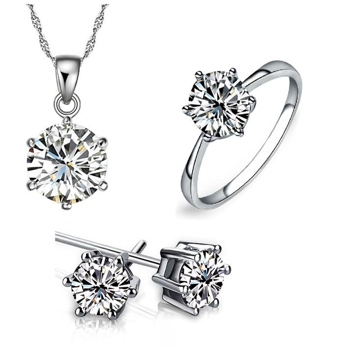 Bridesmaid Jewelry Set for Wedding chains Necklace pendant Earring For Women Gemstone Rings Party Jewelry Sets
