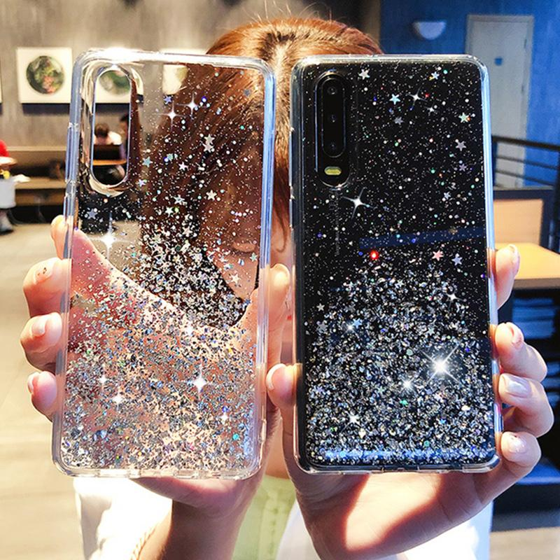 Bling Glitter Case For Huawei P40 Pro P30 Honor 8X S10 PLUS MATE ...