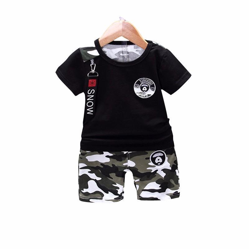 New Verão Casual Camouflage bebé recém-nascido roupa da criança Set Camiseta Tops Calças 2pcs / define algodão Crianças Conjuntos roupa
