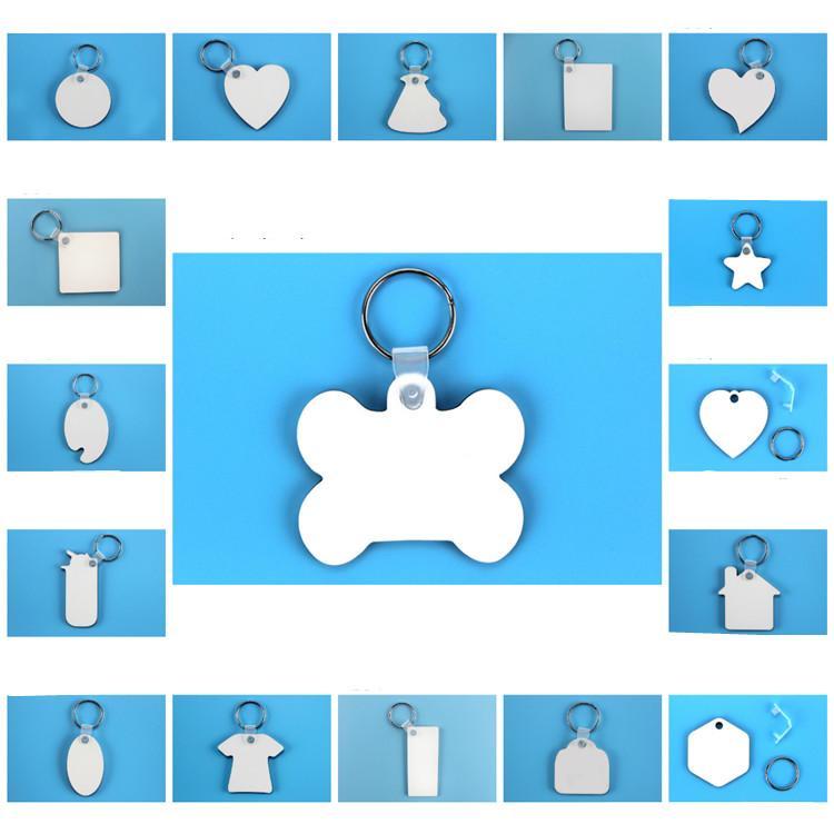porte-clés vierges pour Sublimation Mdf Ronds Amour Porte-clés impression par transfert thermique bricolage blanc Matériel Party Favor T2C5234