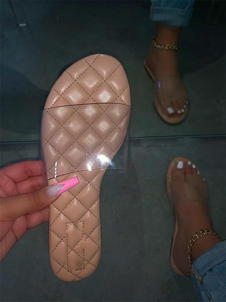 Schwarz-Rosa-Brown Großhandel Transparent Jelly Damenschlappen Summer Open Zehen Schuhe Mode-Frauen-flache Schuhe Aadies Outdoor-Sandalen DHL