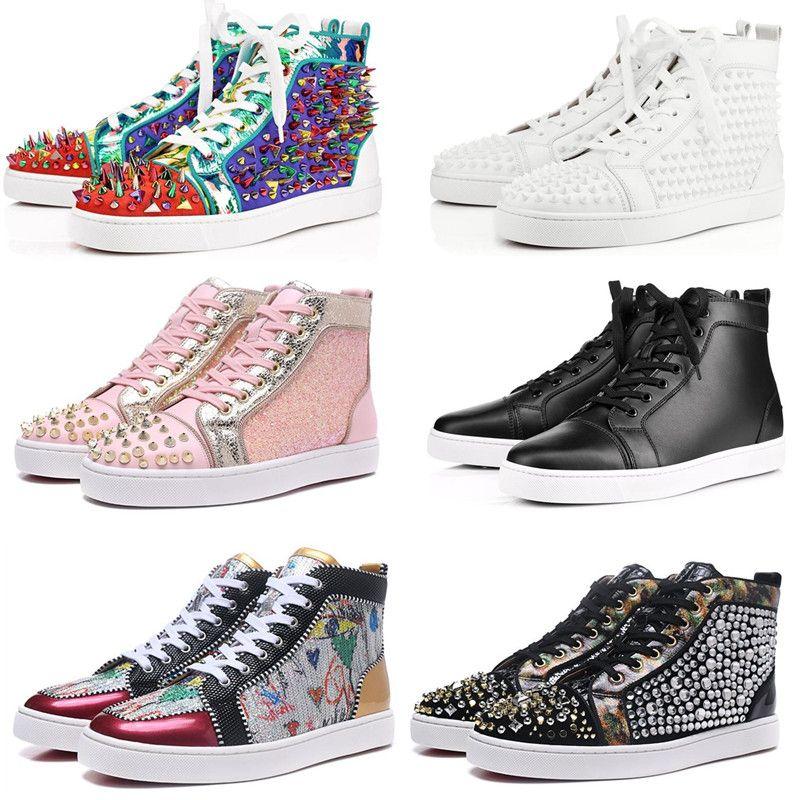 جديدة عالية أعلى حذاء حذاء أحمر أسفل الرجال والنساء أزياء جلدية حقيقية الشقق من جلد الغزال ارتفاع عشاق رياضة حزب بيضاء أحذية عارضة الحمراء