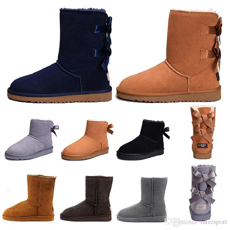 2019 Designer Australia Women Classic Snow Boots Ankle Short Bow Fur Boot For Winter Chestnut Women Winter Shoes Size 36 41 Fly Boots Skechers Boots
