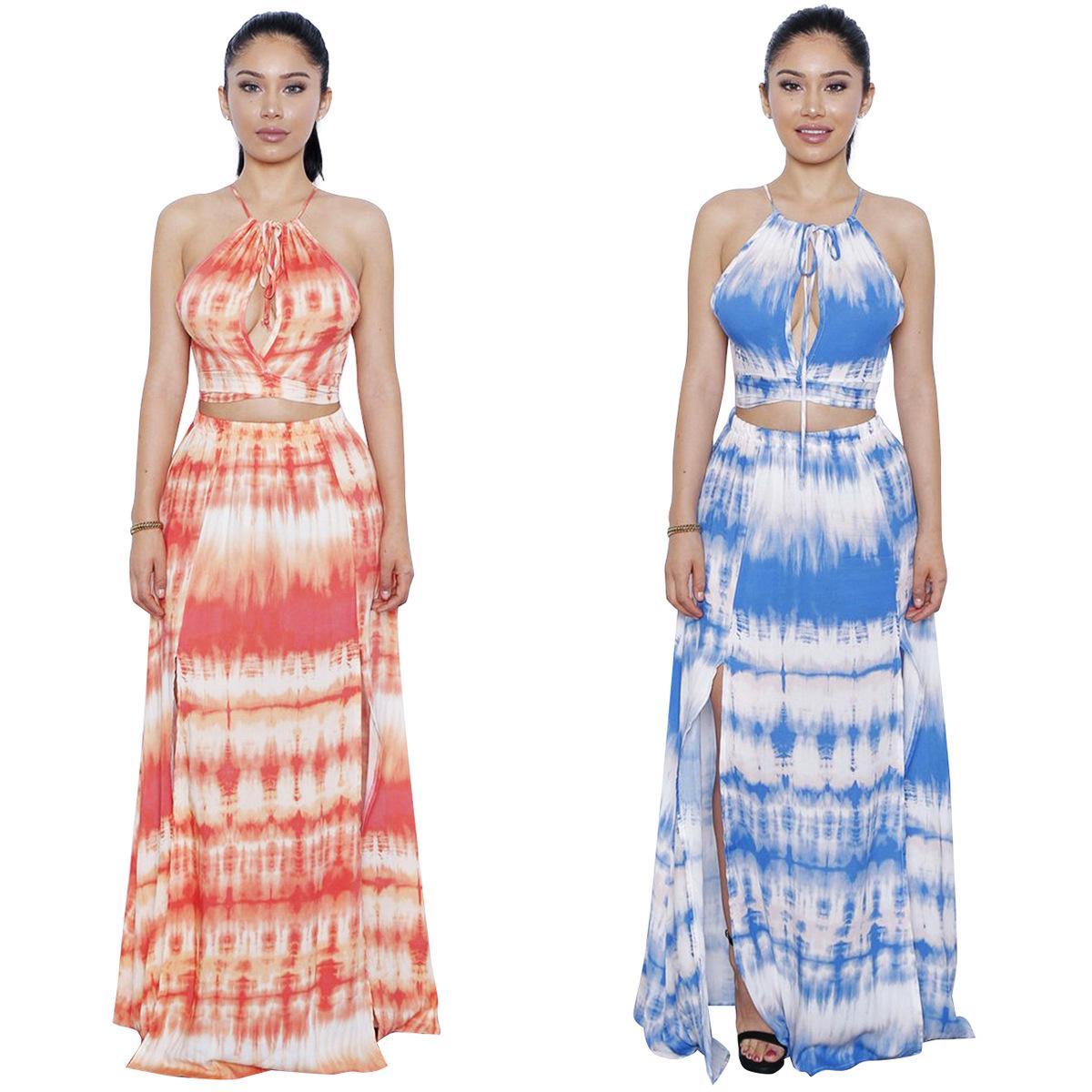 Spring Summer Graffiti Floral Print Halter Off Shoulder Sleeveless Short Top Long Split Skirt Flowy Beach Party Maxi Long Two Piece Dresses