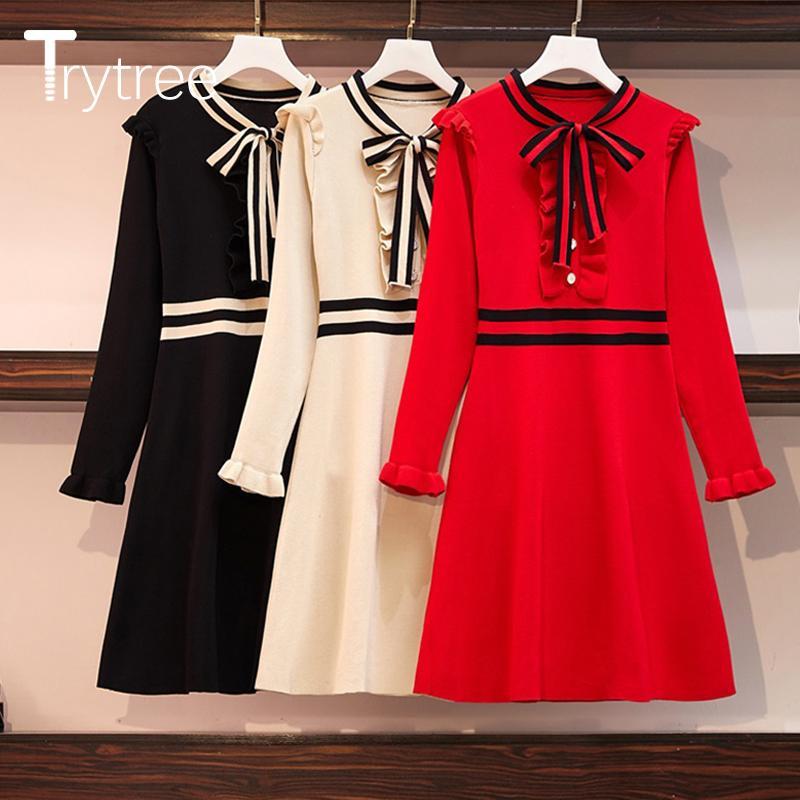 Trytree 2019 Otoño Invierno Mujer Varios volante vestido elegante arco remiendo de 3 colores de una línea floja Oficina de moda Lady mini vestido V200417