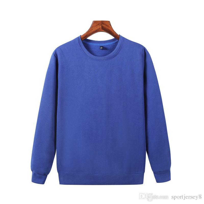 Les derniers automne et pull bleu à manches longues hommes hiver encolure ras du cou en laine polaire coton casual chemise JH-022-053