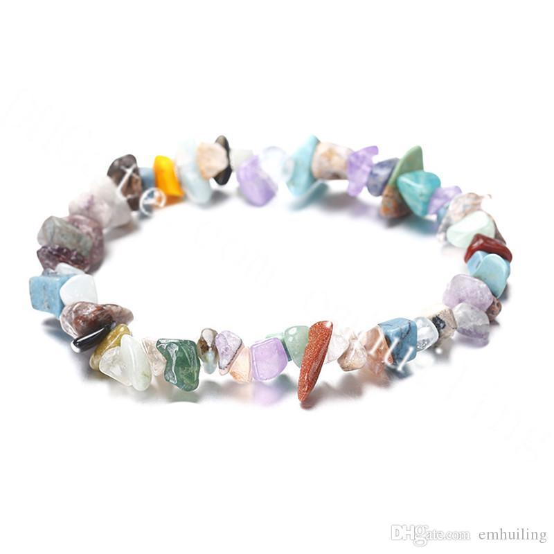 20Pcs Natural Freeform Chips Nugget Stone Elastic Stretch Bracelets Jewellery Handmade Healing Crystal Rock Loose Gemstone Beaded Bracelet