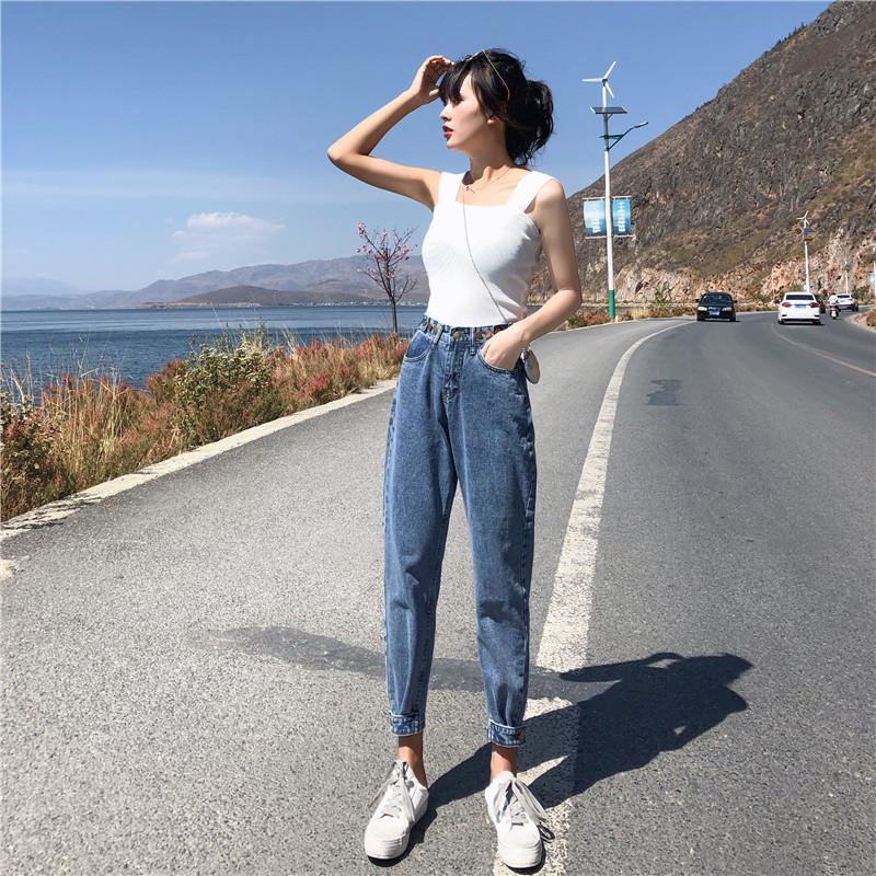 Skinny Jeans Slim pour les femmes coréenne style vrac bleu Pantalon taille haute Zipper Pantalon Vintage stretch pour femmes Jeans 2020 nouvelle