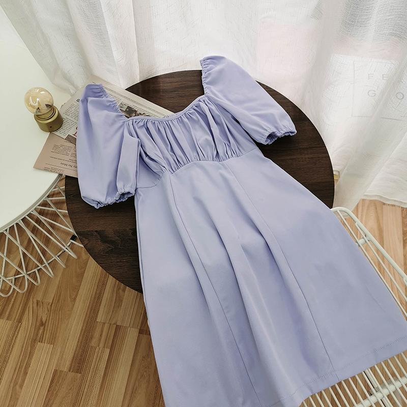 Coreano roupa do verão vestido de mulher chique doce Puffed mangas Sólidos Vestidos Cor elegante Collar Mini Praça vestido preto 2020