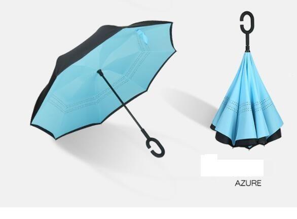 Plush-size C sunny car reflexed umbrella Portable double layer upside down reverse umbrella 8k inverted long handle umbrella custom LOGO