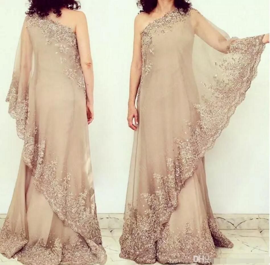 champagne élégante dentelle Applique Mère de robes de mariée pour les mariages une épaule dentelle perlée robes appliques de soirée longueur de plancher