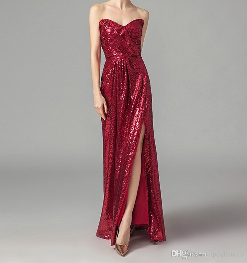 Dark Red tessuto paillettes damigella d'onore Backless sexy Sweetheart cerniera posteriore del pavimento laterale Zipper damigella d'onore Abiti