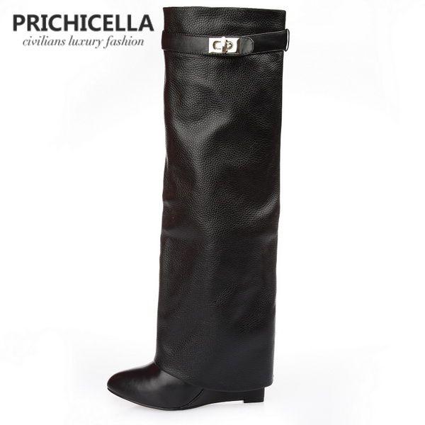 Stivali alti PRICHICELLA in vera pelle con fibbia e cinturino con fibbia gladiatore stivali alti fino al ginocchio taglia 34-42