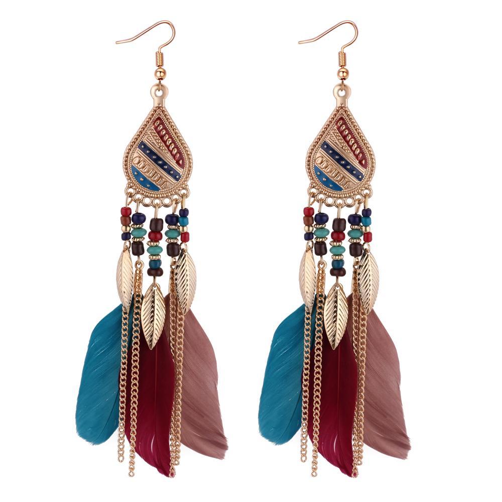 Bohemian lunga catena monili della piuma della nappa di goccia orecchino di modo regalo di San Valentino della ragazza delle donne ornamenti accessori 132195