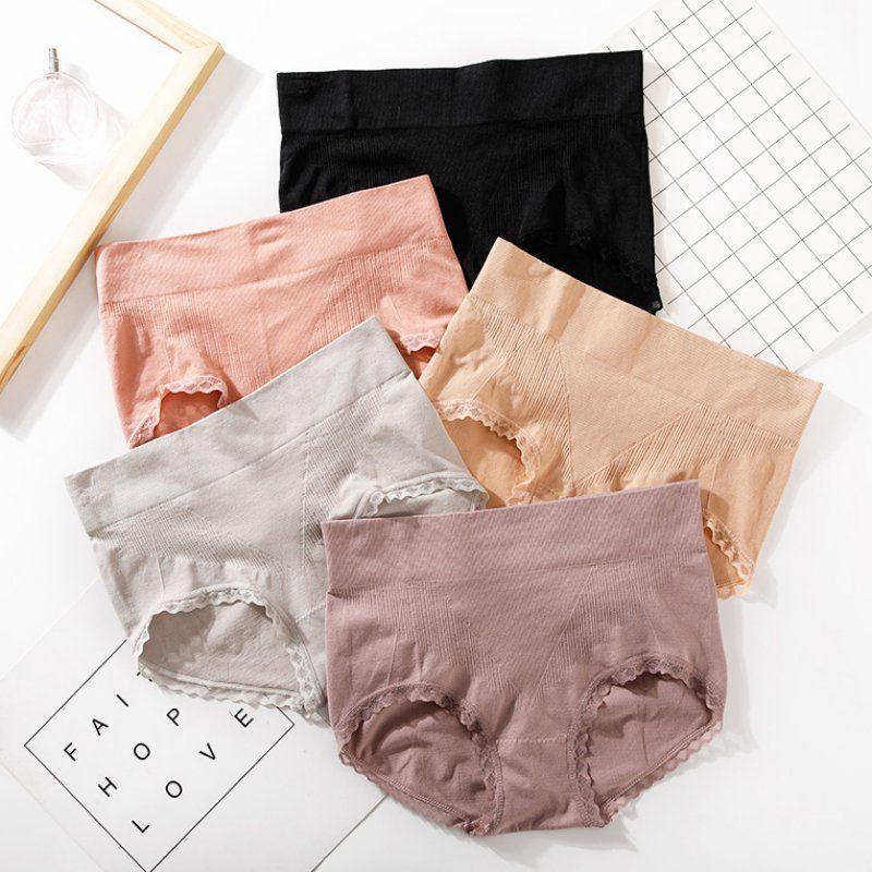 Seamless calcinha de renda costura Briefs cintura alta aperto Abdome Briefs elevação de quadril para Mulheres