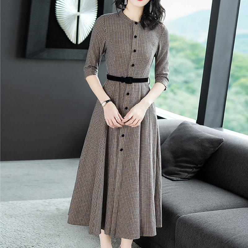 2019 spring and summer professional stand collar long retro plaid slimming new commuter A word dress