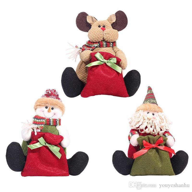 Christmas Sitting Santa Claus Snowman Reindeer Figure Plush Toy Doll with candy gifts bag Home Ornament Decor Navidad Decoration