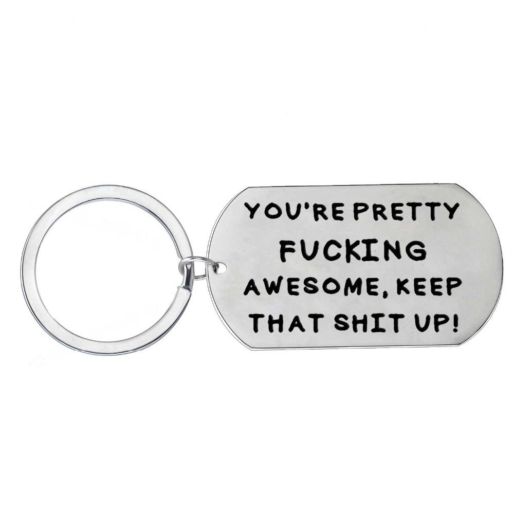 12 Pc/Lot You Are Pretty Awesome Inspirational Key Chain Key Ring Friend Lovers Stainless Steel Graduation Keychain Xmas Gift