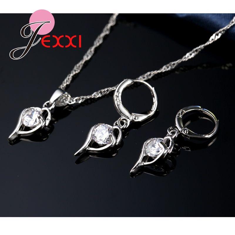 JEXXI Elegant Cubic Zircon Wedding Jewelry Set For Women 925 Sterling Silver Necklace Earrings Bridal Jewerly Sets
