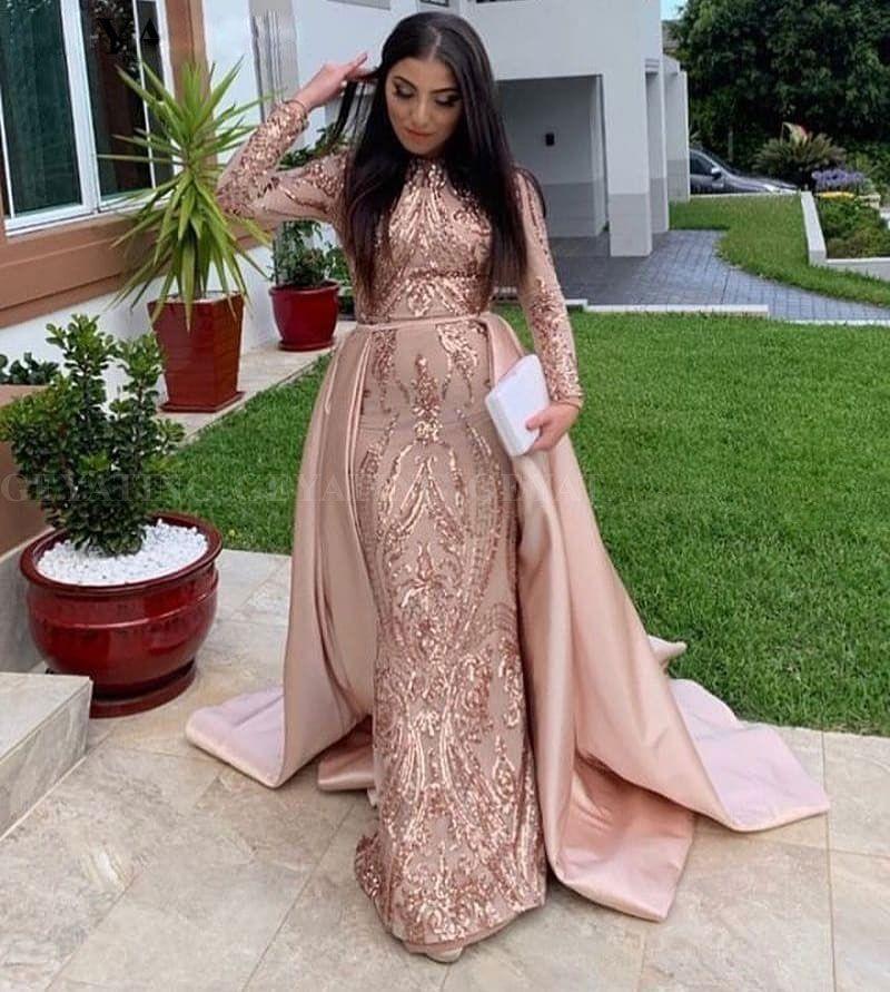 Moda Sereia Lace Vestidos de Baile Com Saia Destacável Mangas Compridas Árabe Vestido Formal De Cetim Lantejoulas Vestidos de Noite Muçulmanos
