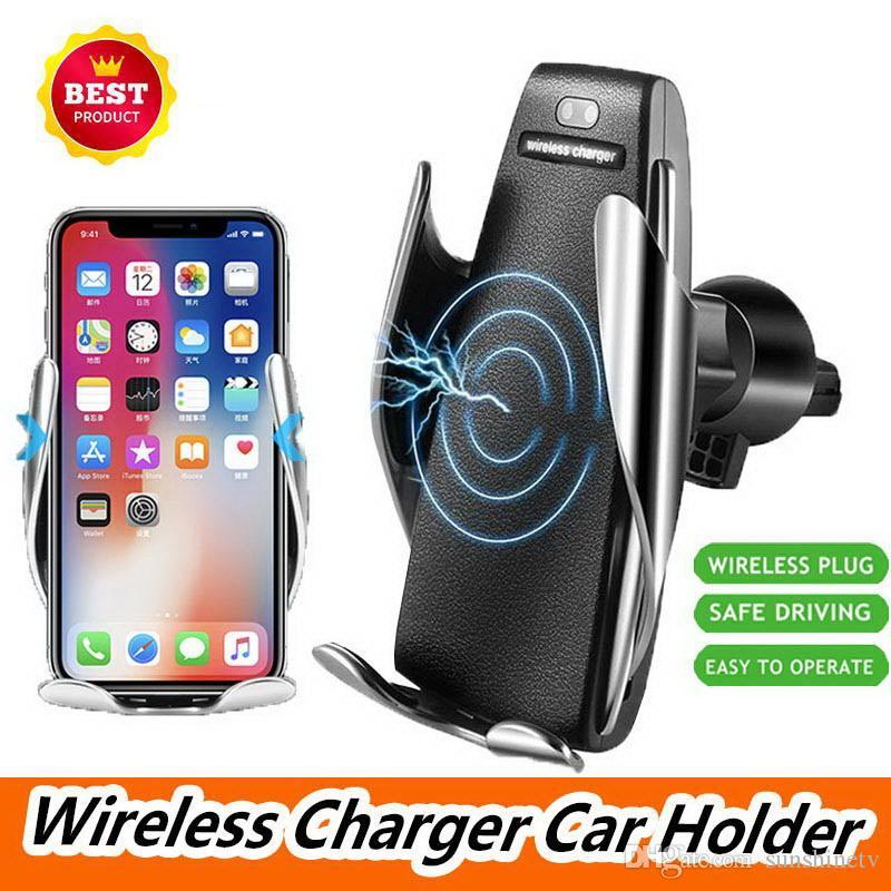 10W Wireless Car Charger bloccaggio automatico di ricarica rapida del supporto del supporto del telefono in auto per iPhone xr Huawei Samsung Smart Phone