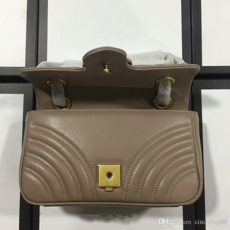 Top Quality Italian Genuine Leather Hot Sale Women Designer Handbags Messenger Shoulder Bags Chain Bag 4 Colors Wave Purses Ladies Handbag