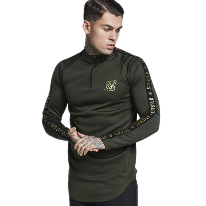 Fashion Mens Stretch Tshirt Solid Color Turtleneck High -Elastic Long Sleeve T Shirts Men Slim Casual Mens T-Shirt Hot Size M-2XL