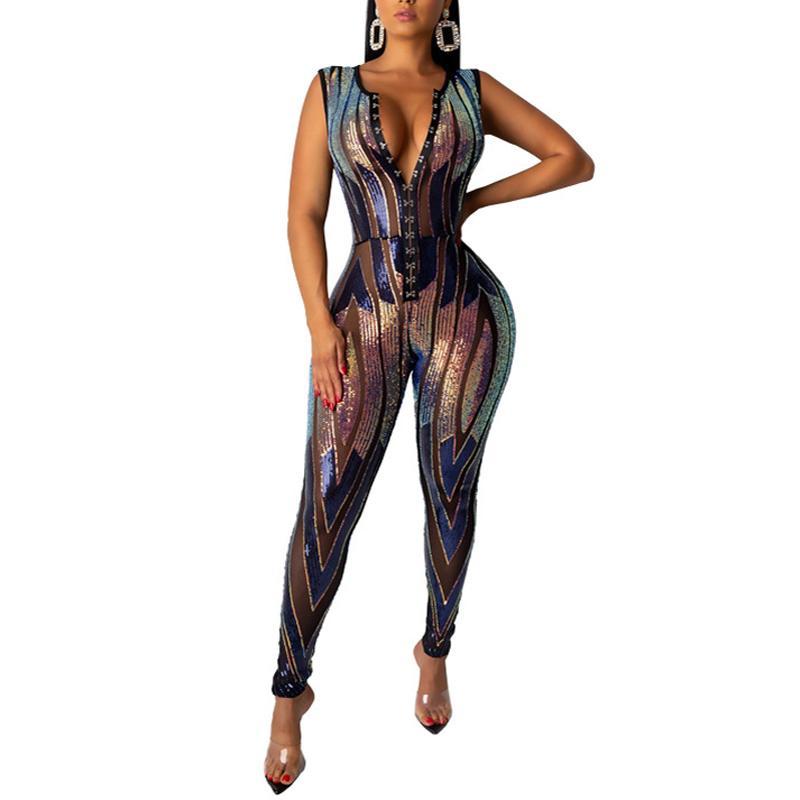 Mulheres Sexy See-through lantejoulas Jumpsuit malha Patchwork Sheer Discoteca Macacões