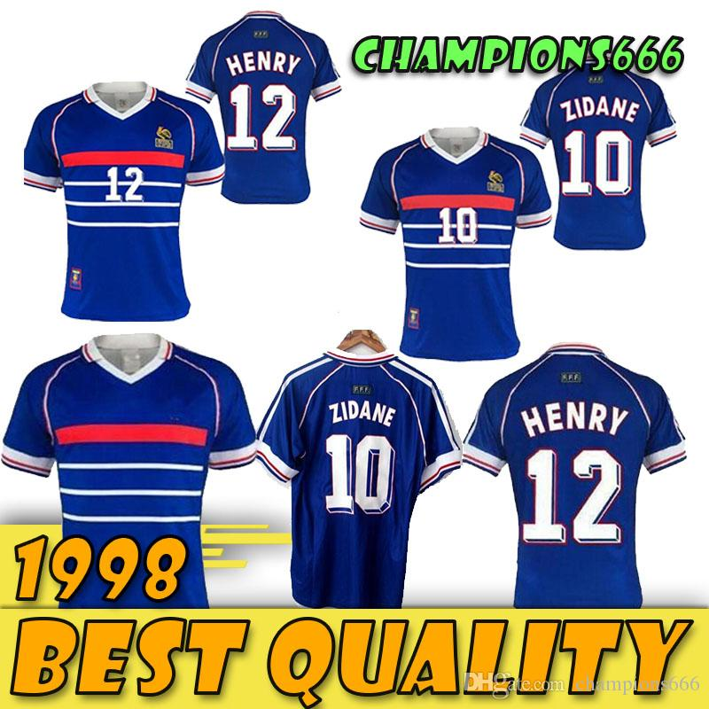 FRANCE ZIDANE HENRY MAILLOT DE FOOT uniformes de football chandails chemise Thaïlande qualité 1998 FRANCE VINTAGE RETRO Maillots de foot