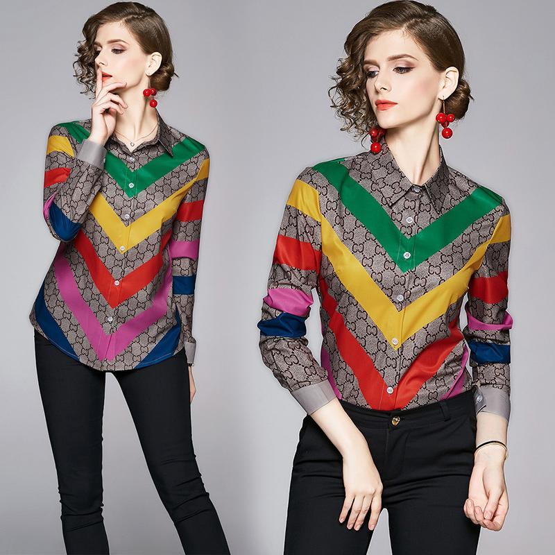 Лучшие модные взлетно-посадочные полосы женщин блузки с длинными рукавами 2020 весенний осенний роскошный печать OL дамы повседневные офисные ослабесы шеи кнопки дизайнерские вершины рубашки