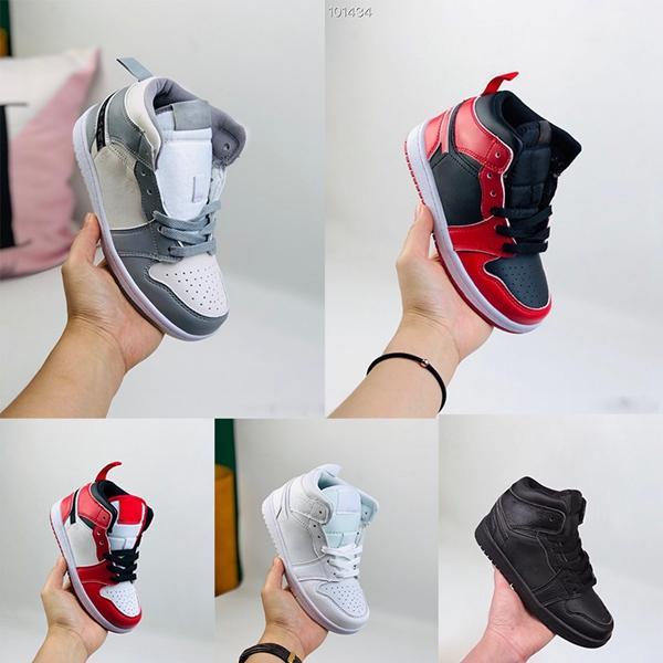키즈 스니커즈 유아 유아 배 블랙 35 주년 (D)가 J 1 I 높은 OG 늑대 회색, 흰색 시카고 킴 존스 (Kim Jones) 농구 신발 X 밝혀