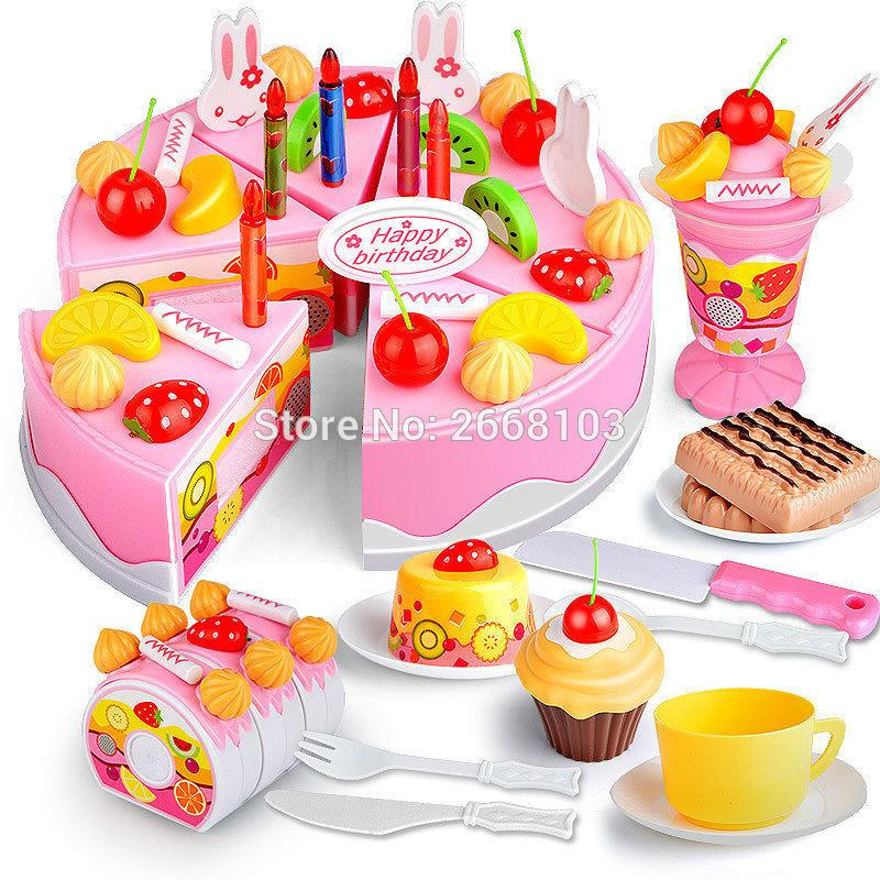 75PCS Cut Birthday Cake Toys Set Kitchen Fruit Children Pretend Play Food Early Educational Classic Toy Gifts For Kid Model Game Y200413