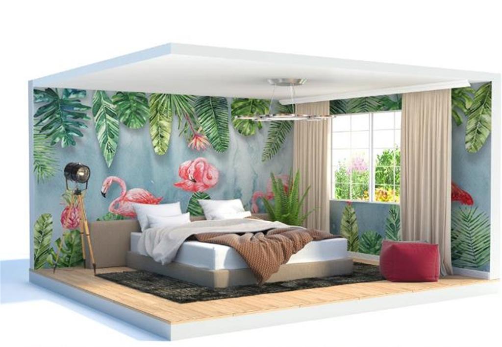 2019 Nouveau papier peint européen nordique moderne simple plante Flamingo Toute la maison Wall Décoration murale