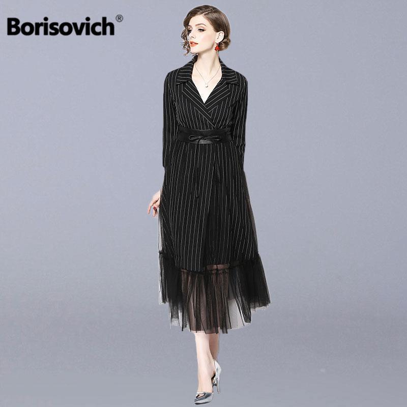 vendita all'ingrosso Office Lady elegante abito a strisce lungo nuovo 2019 primavera moda colletto turn-down a-line abiti casual donna N451