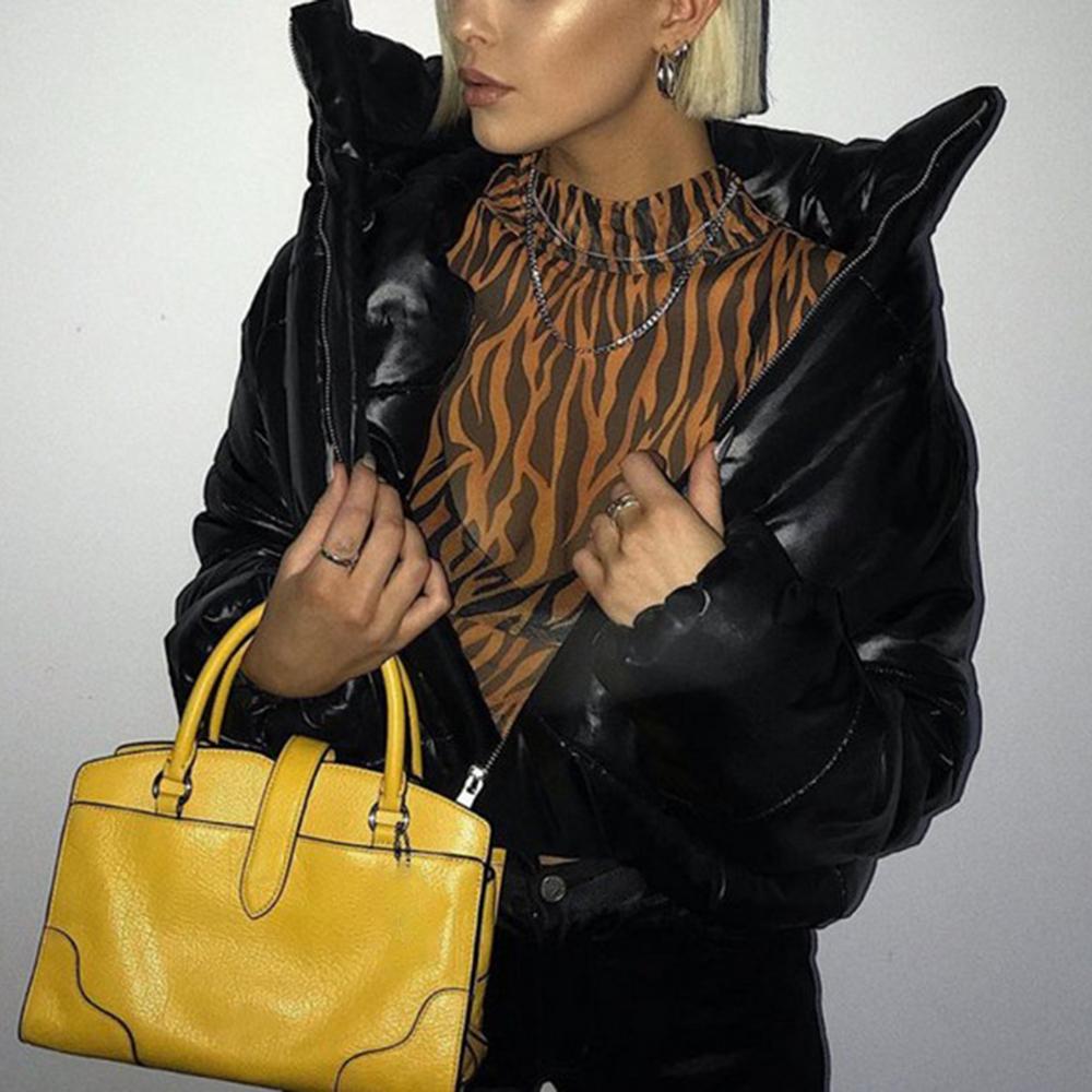 여성 코트 재킷 겨울 착용 짧은 자르기 복어 자켓 긴 소매 버블 코트 파카 여성 캐주얼 자켓 블랙 화이트