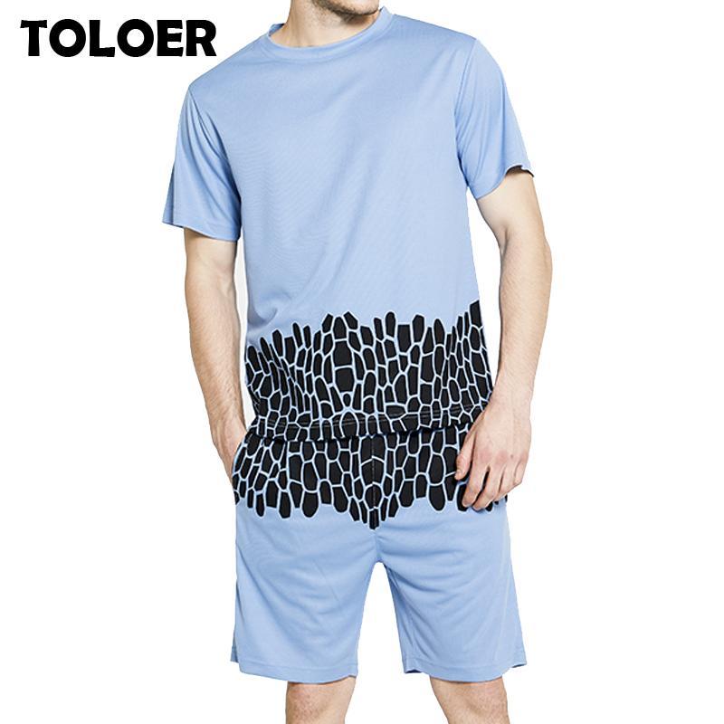 Survêtement Hommes New 2020 été deux pièces Set Hommes Sportwear Shorts Ensembles Outwear hommes manches courtes T-shirt + Top recadrée Suit Shorts