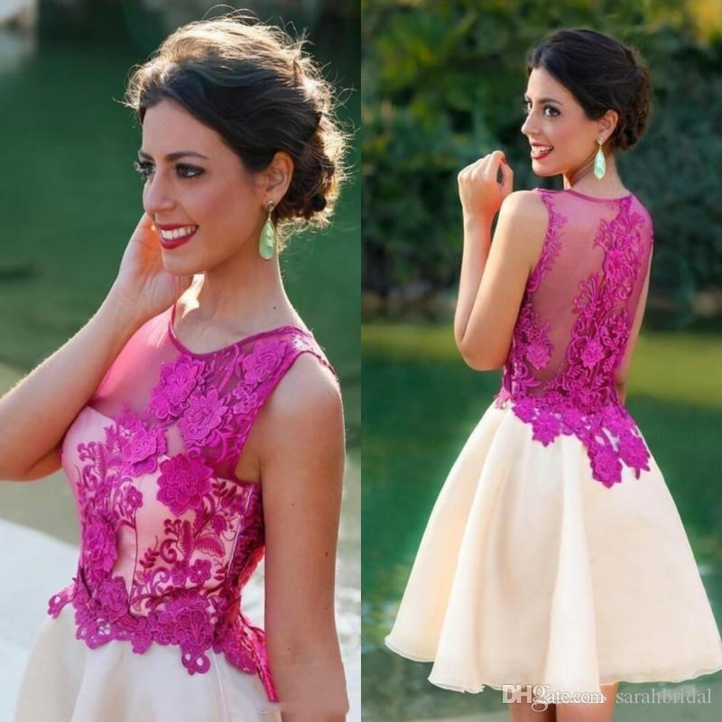 Cheap 2020 Short Homecoming Party Dress Lace Applique Illusion Back Homecoming Dresses Formal Dresses Short Prom Dresses Custom Made