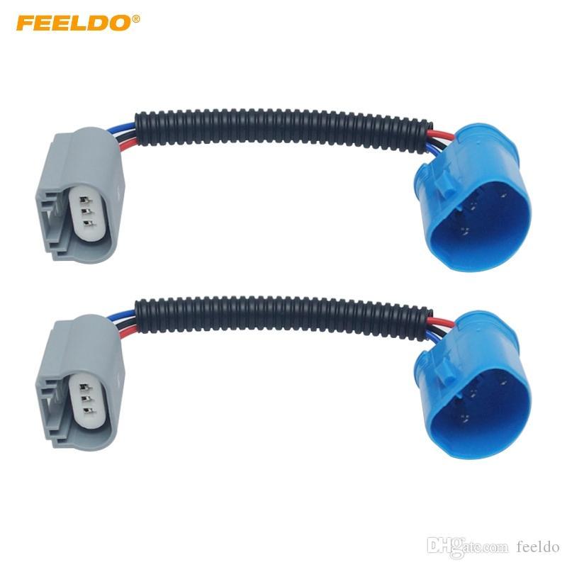 FEELDO 2PCS Car LED HID Headlight Ceramic Socket Plug Wiring Harness Connector 9004/9007 To H13 Bulb Socket Wiring Adapter Holder #5949
