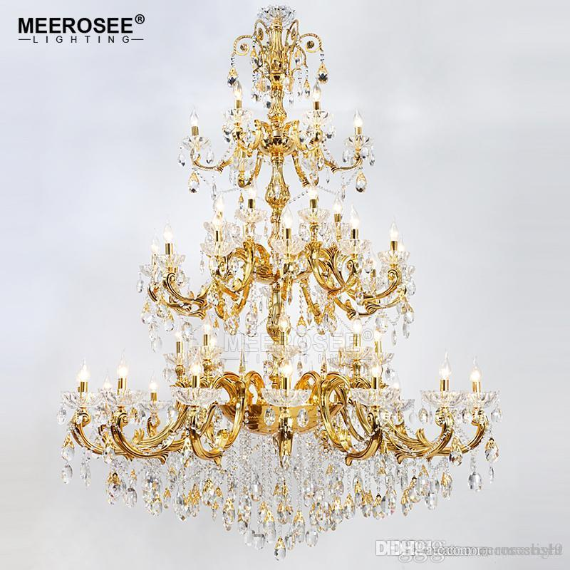 Luxurious Crystal Chandelier Large Elegant Gold Silver Color Crystal Suspension Light Fixture for Hotel Restaurant Foyer Home
