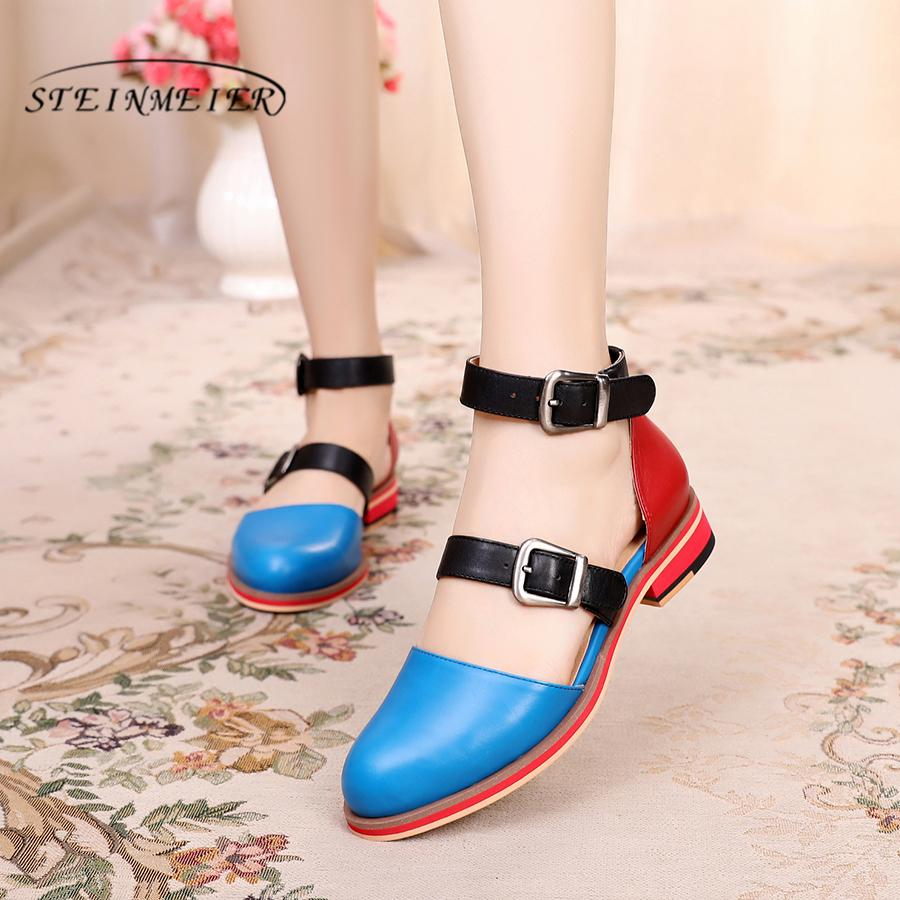 Genuine sheepskin Leather brogue yinzo lady flats Sandals shoes vintage handmade oxford shoes for women red blue pink summer