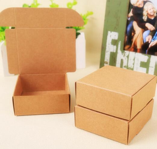 8*8*4cm 500pcs Small Black craft paper jewelry box packaging for soap wholesale Aircraft box cardboard paper