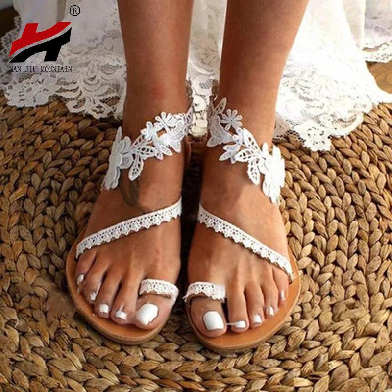 NAN de la DCI montaña del verano mujeres de las sandalias sandalias planas sólido boda del dedo del pie abierto de encaje color más tamaño 34-43