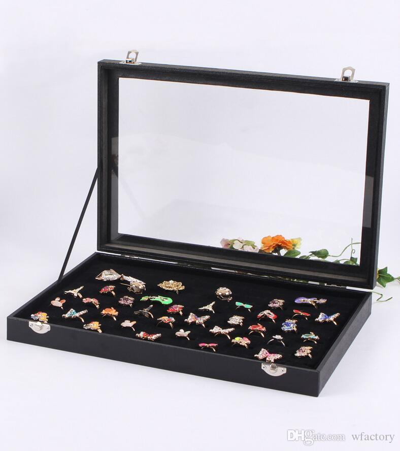 Black Velvet Earrings Ear Studs Ring Jewelry Display Stand Showcase Tray Case