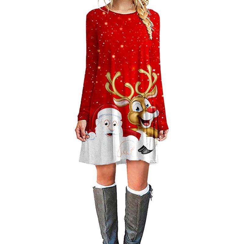 Hot Abiti Moda Natale vestito delle donne Vendita inverno Nuovo Natale Stampa mini abito a maniche lunghe O-collo vestiti delle donne