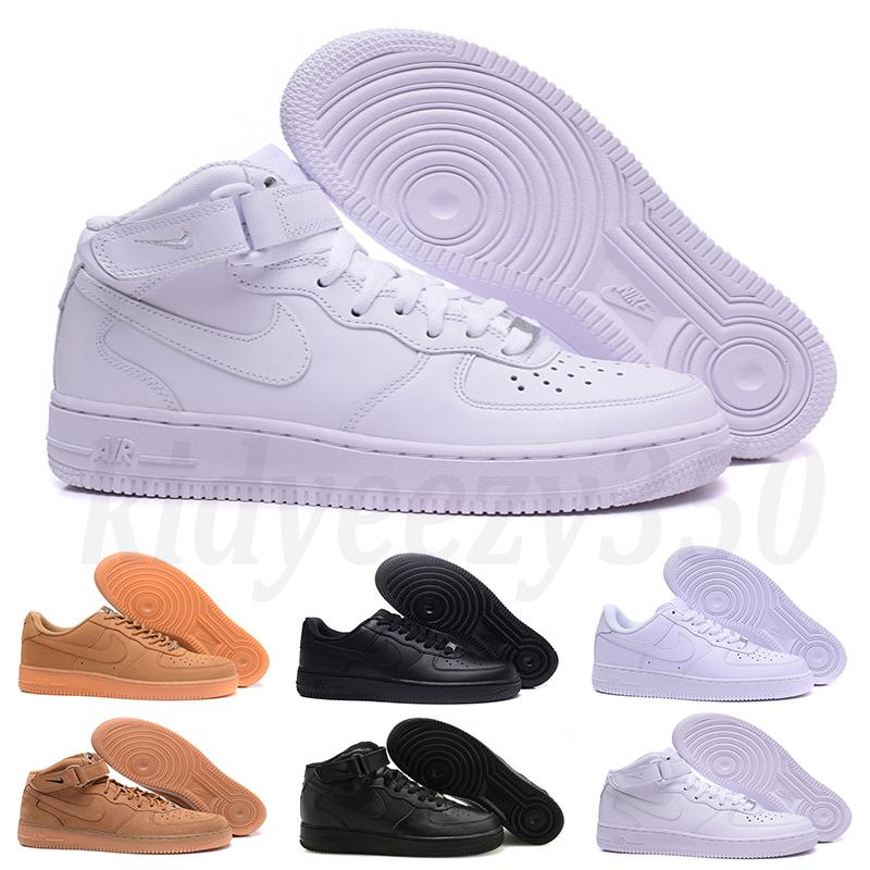 Nike Air Force 1 AF1 Leather Low Cut one 1 zapatos Blanco Negro Dunk Skateboarding Zapatillas de deporte clásicas zapatillas de deporte de aire alto unisex zapato para caminar A55
