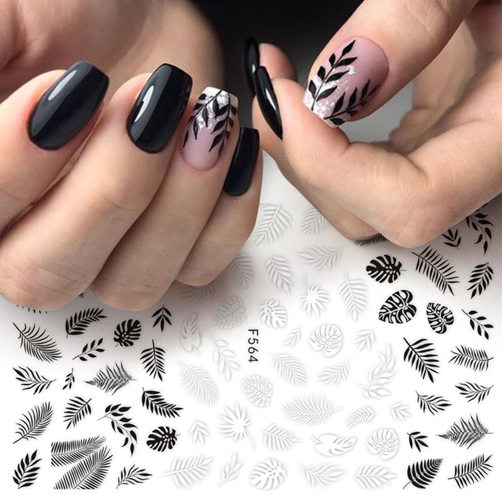 tickers décalcomanies Nail Foil Curseur 3D autocollant noir blanc Plante Feuille Fleurs Autocollants Manucure Wrap Flake Nail Art Accessoires LAF56 ...