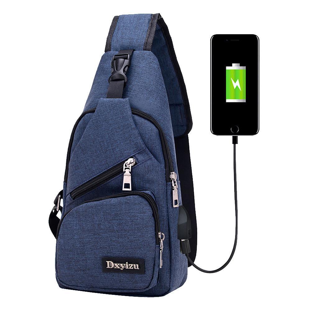 Usb Canvas Brusttaschen Unisex Boston Bag Herren Polyester Sling Bag Brust Pack Umhängetasche Mit Usb Aufladung # yl5