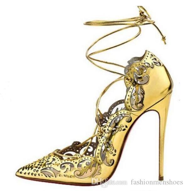 Nuevo 2019 Bombas caladas para mujer Zapatos de punta estrecha con tacón alto Impera Bombas cortadas con láser Sapatos Femininos